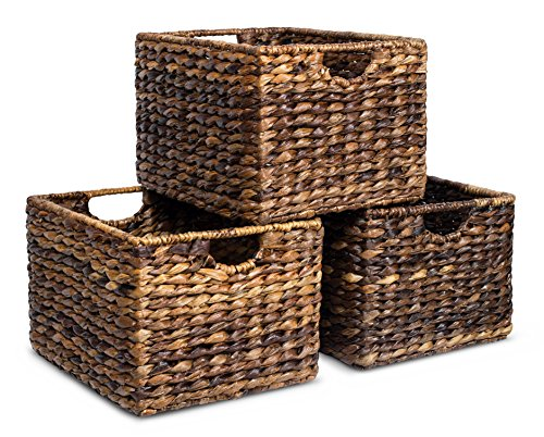 BirdRock Home Woven Storage Shelf Organizer Baskets with Handles | Set of 3 | Abaca Wicker Basket | Pantry Living room Office Bathroom Shelves Organization | Under Shelf Basket | ()