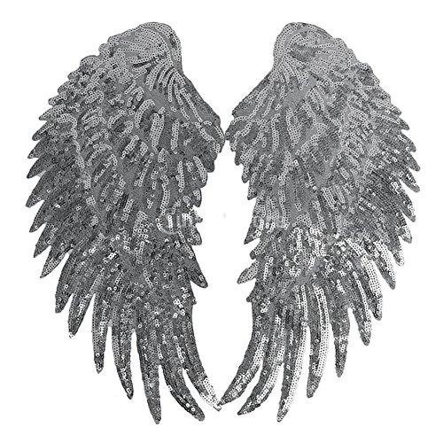 2Pcs DIY Angel Wings Sequins Patches Clothes Sew-on Embroidered Motif Applique -