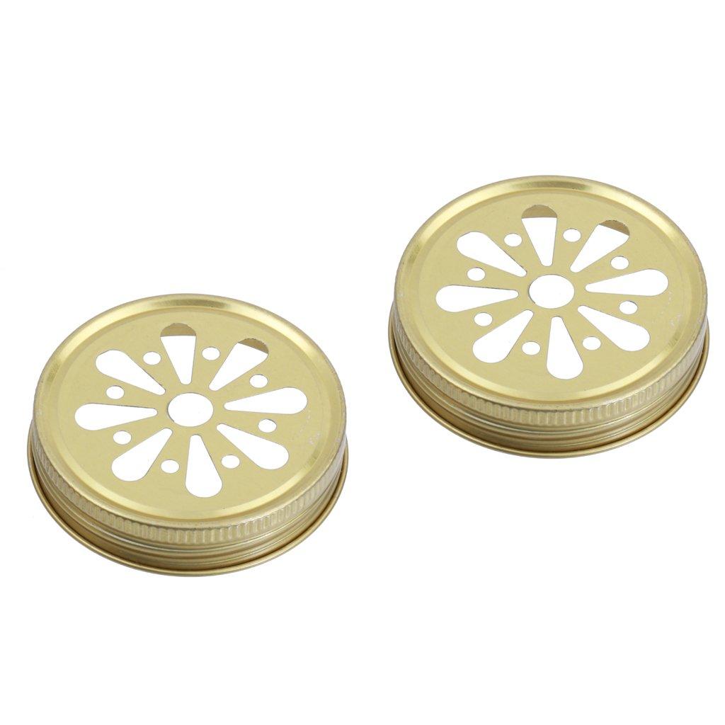 Gold 10pcs Daisy Straw Hole Lid Screw Cap Lid Caps for Mason Ball Jar