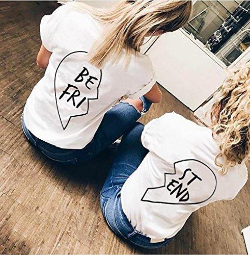 JWBBU Damen Best Friend T-shirt Sommer Baumwolle Oberteil mit dem Aufdruck 1 Stück,S, Weiß