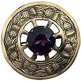 AAR Scottish Highland Kilt Fly Plaid Brooch Thistle Design Antique Finish 3 inch (Purple)