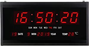 SecreShow 15 Inch Oversized LED Digital Wall Clock Large Display with Indoor Temperature Date and Day of Week,Electric Wall Clock/Calendar Timer Home Decor -Red