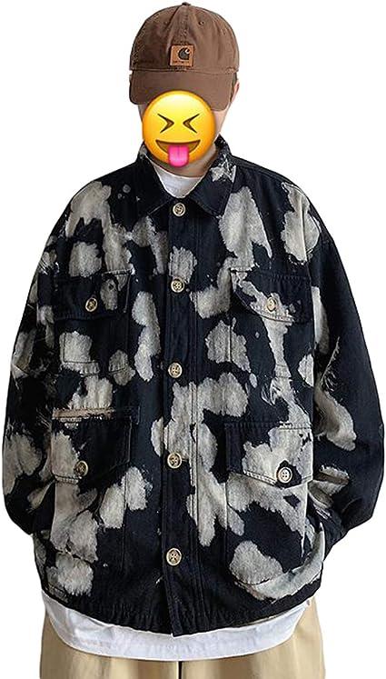 [Ksila]ジャケット メンズ デニムジャケット タイダイ染 ゆったり ジージャン ファッション 迷彩柄 Gジャン カジュアル 春 秋 アウター デニム オシャレ ジャンパー