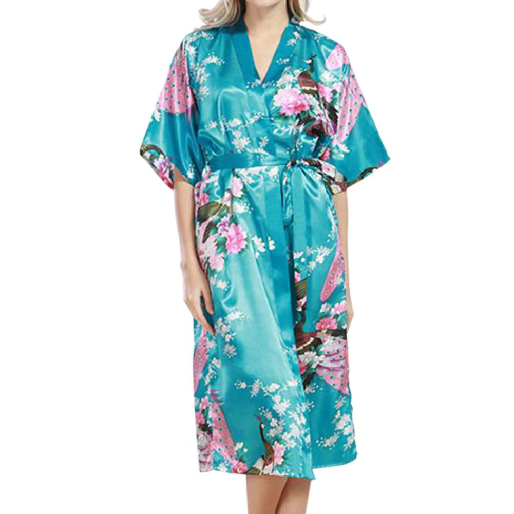 Haodasi Women Plus Size Sleepwear Silk Kimono Robes Peacock Printing Short Sleeve Nightdress Kimono Satin Nightwear Long Style Bathrobe Dressing Gown