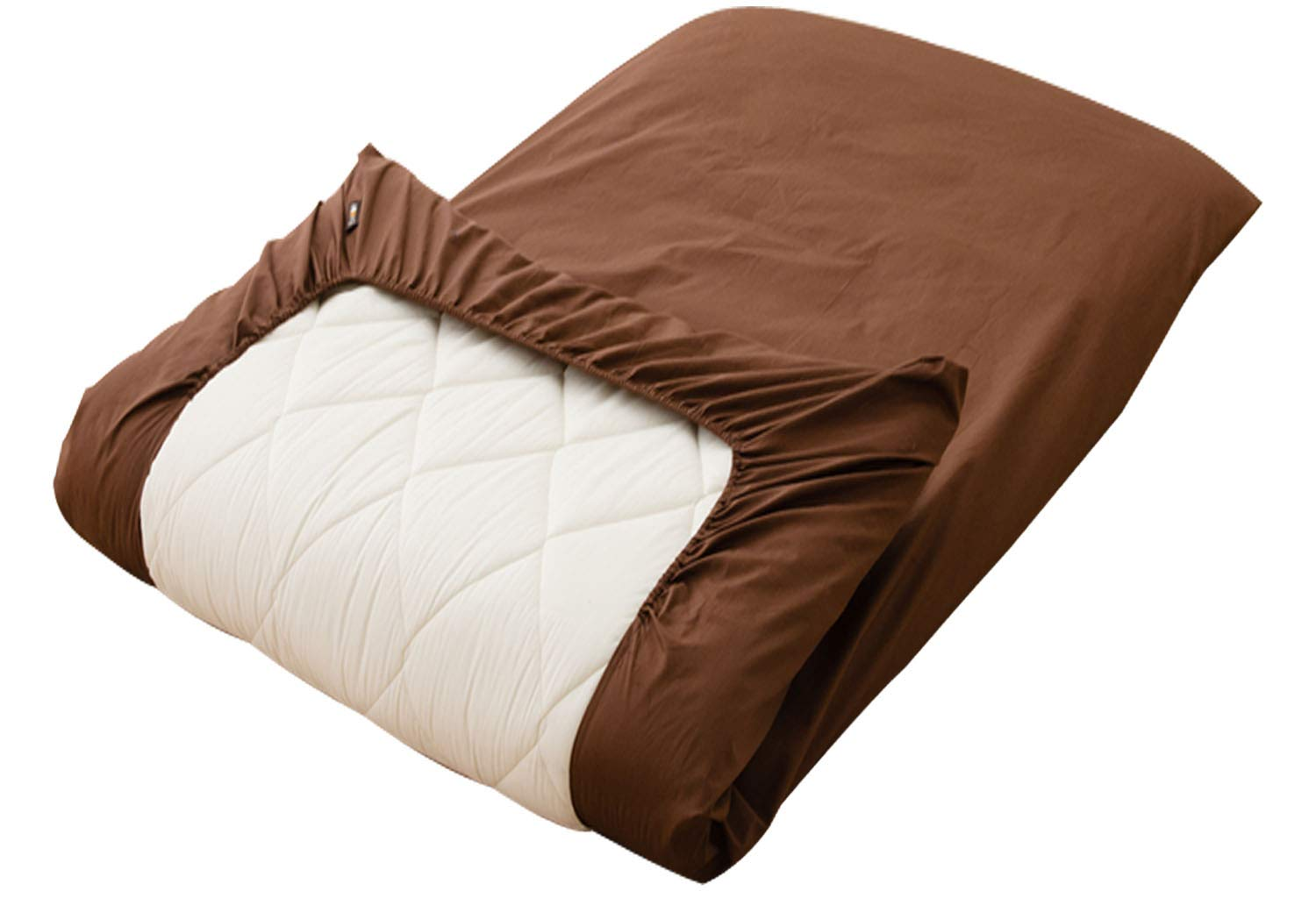 EMOOR Color 100% Cotton Fitted Sheet for The Thick Futon Mattress (Brown), Japanese Queen Size (63 x 83 x 8 in.). Made in Japan by EMOOR