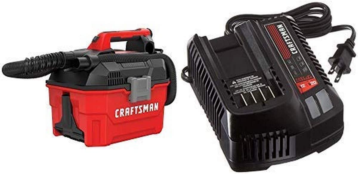 CRAFTSMAN V20 Cordless Shop Vac, 2 Gallon, Wet/Dry with Fast Charger, Battery Sold Separately (CMCV002B & CMCB104)