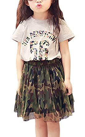 33adb88cc FANCYKIDS Girls Toddler Shirt Cute Camouflage Tutu Skirt Outfit Set (2 to 3  Years Old