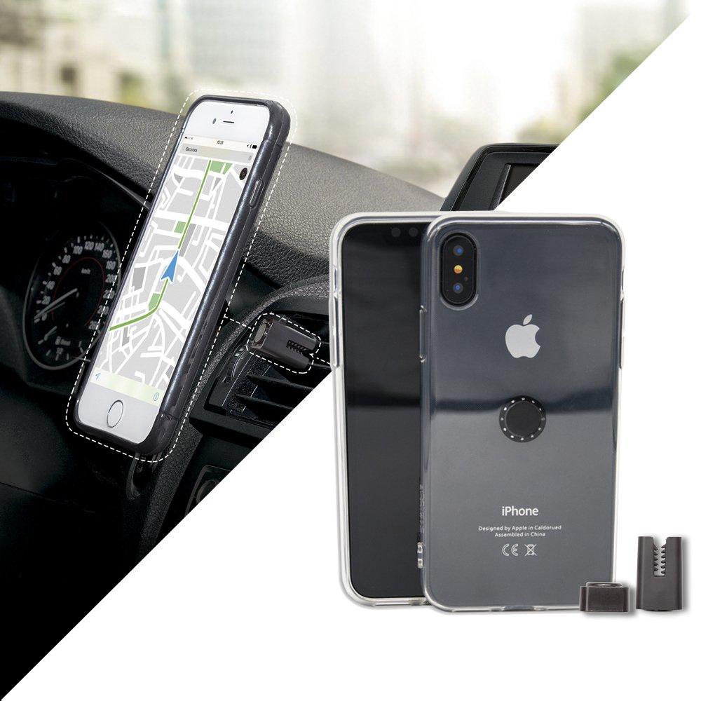 Funda con soporte magnético de coche iPhone X - Transparente...