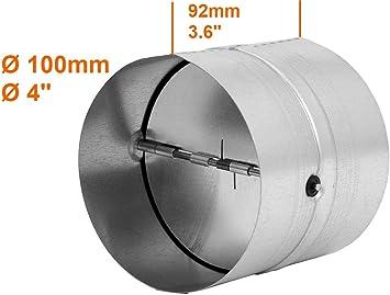 Conector de 100 mm de diámetro para tubo de ventilación, tubo de escape, canal de salida de aire – con válvula antirretorno – de acero galvanizado.: Amazon.es: Bricolaje y herramientas