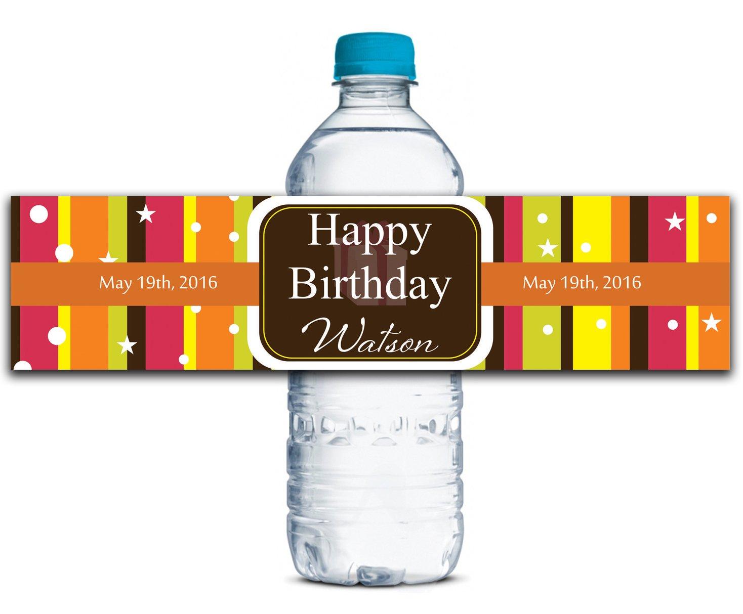 Adhesivas impermeables Pegatinas de encargo del cumpleaños Etiquetas De de Botella de agua de De 8