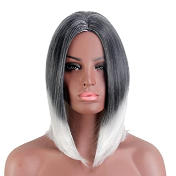 Stfantasy Wigs for Women Two Tone Short Straight Synthetic Middle Part Peluca 14 Inch 180g w