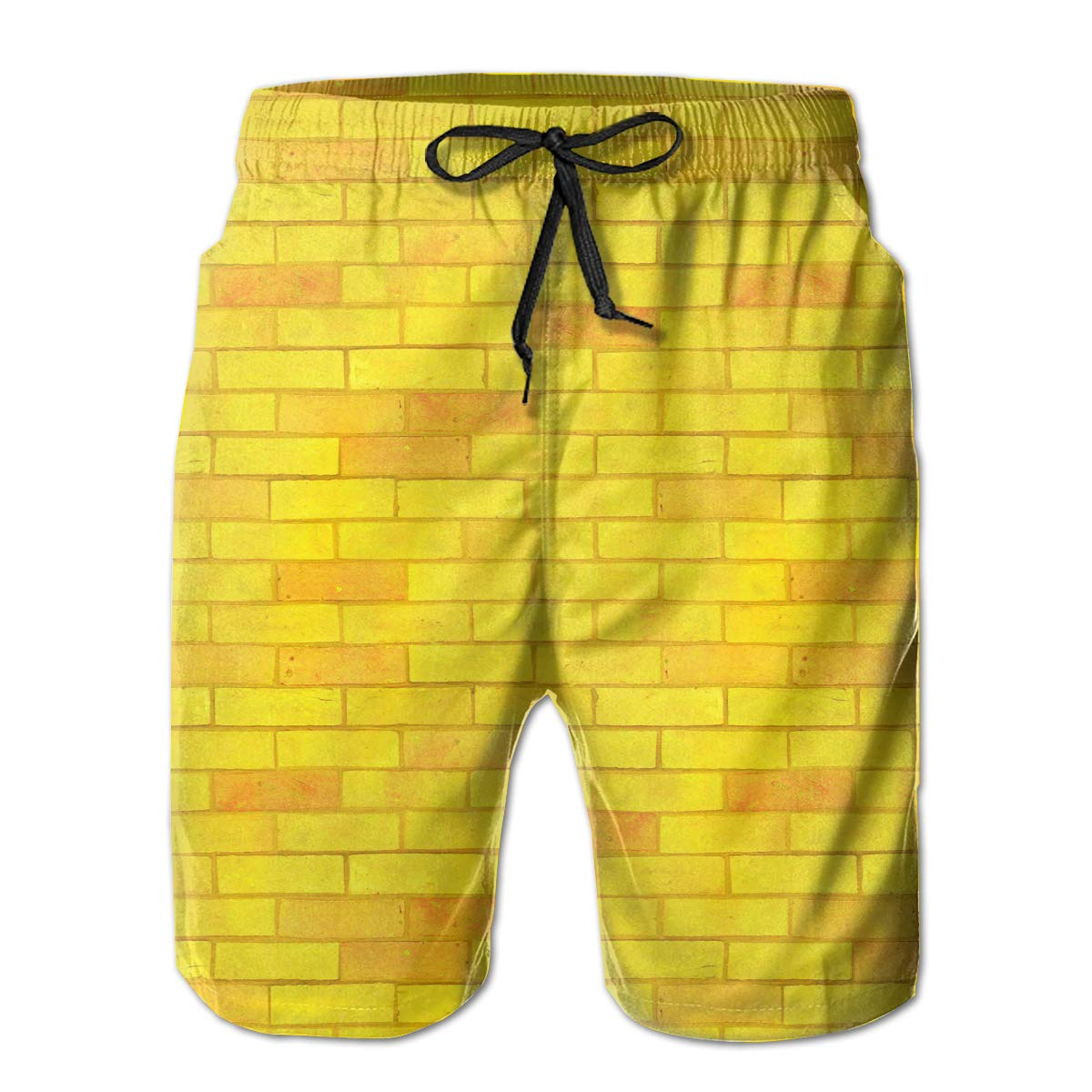 6f07cfcdb6 FASUWAVE Men's Swim Trunks Yellow Brick Road Quick Dry Beach Board Shorts  with Mesh Lining | Amazon.com