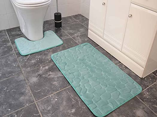 Duck Egg Memory Foam Bath Mats Large Washable 2 Piece Set Toilet Rugs