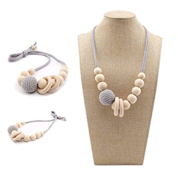 Baby Wood Crochet Beads Teething DIY Silicone Sensory Jewelry Teether Necklace