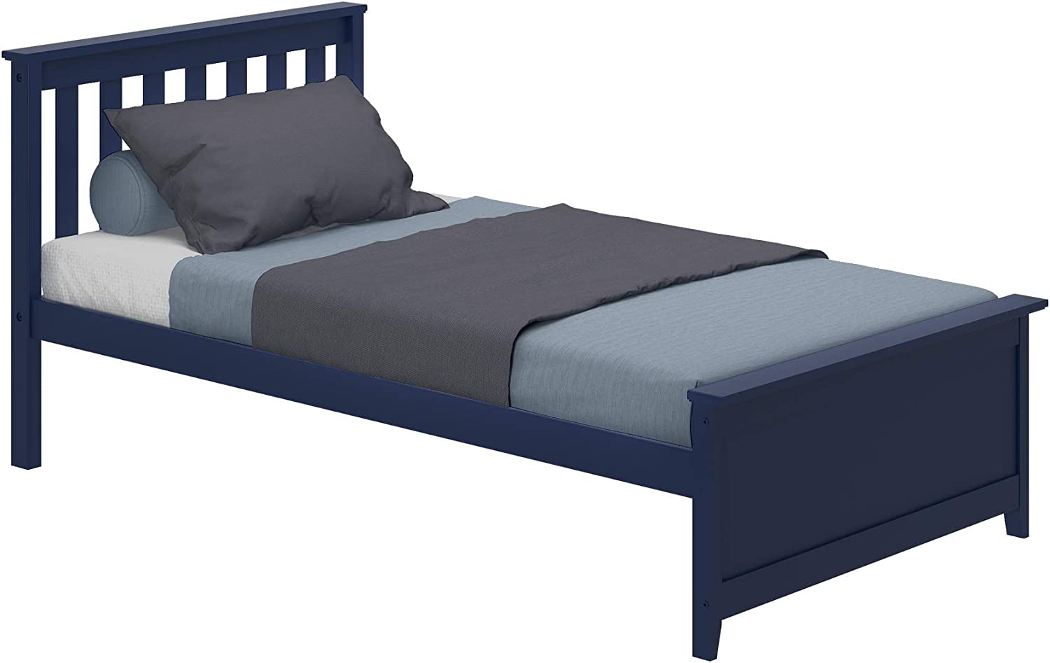 Max Lily Solid Wood Twin-Size Bed, Blue