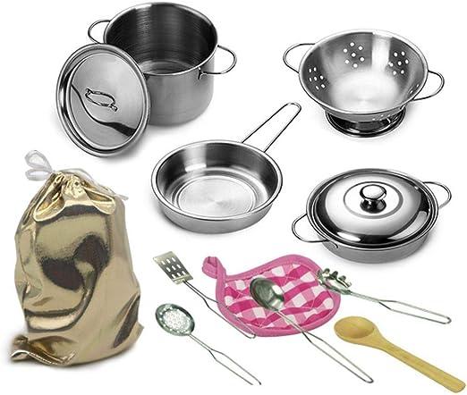 12pcs//Set Kids Play House Kitchen Toys Cookware Cooking Utensils Pots Pans Toys