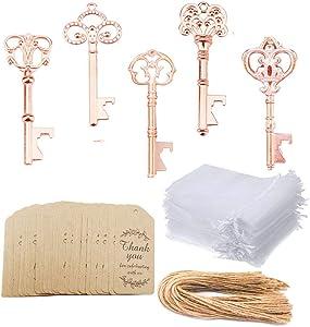 Awtlife 50 Pcs Rustic Vintage Skeleton Key Bottle Opener with Tag Cards Sheer Bag for Wedding Party Favors 5 Style Gold Rose