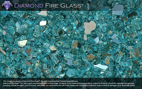 Rock Screen (Turquoise Reflective - Fire Pit Fireplace Glass - 5)