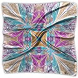Womens Girl's Beautiful Flower Pattern In Stained Glass Window Style Print Square Kerchief Scarf Head Wrap Neck Satin Shawl