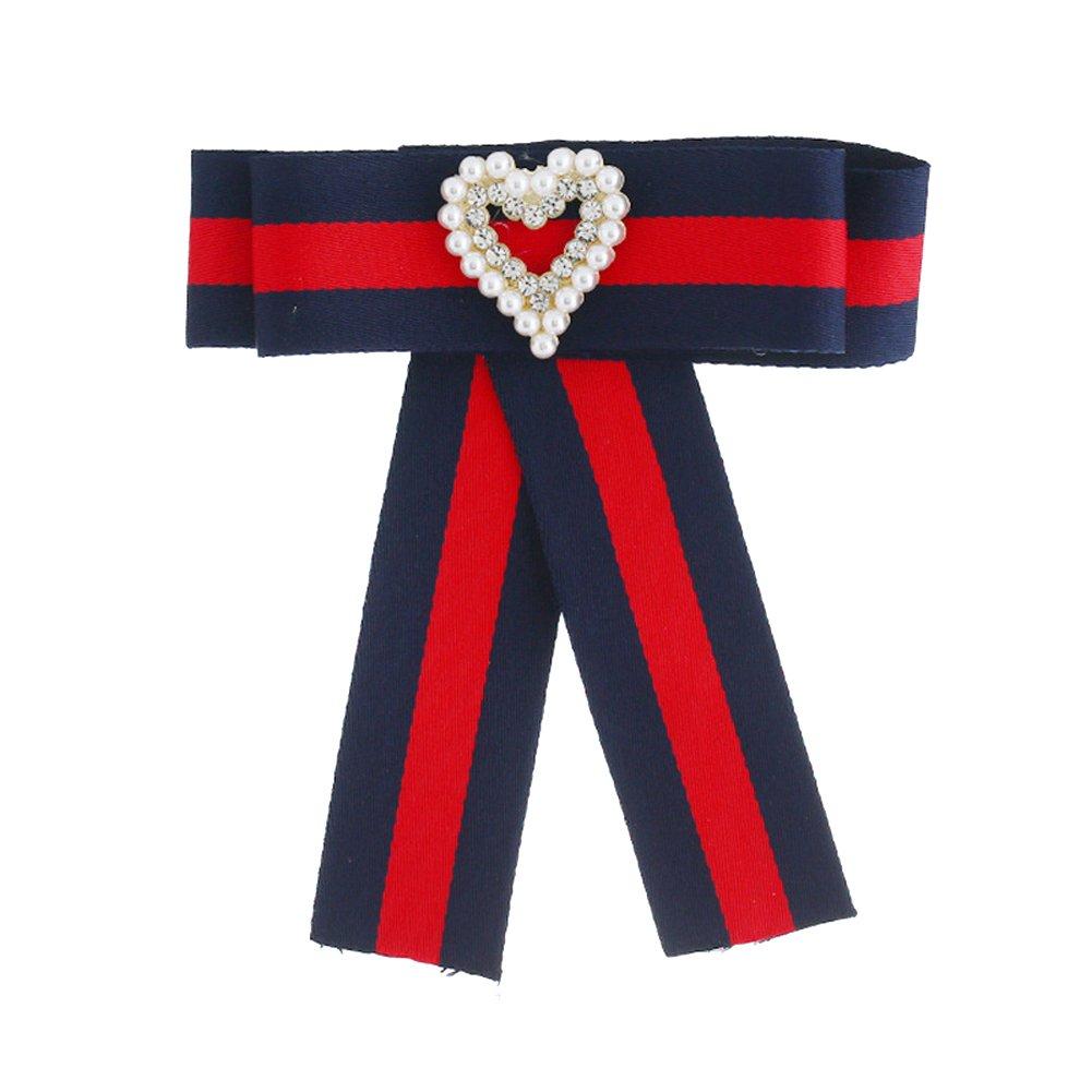 Parkho Lady Bow Tie Women Fashion Bowties Pearl Crystal Dangle Wedding Party Bow Tie Women Girls Neck Tie stripe Parkho2018