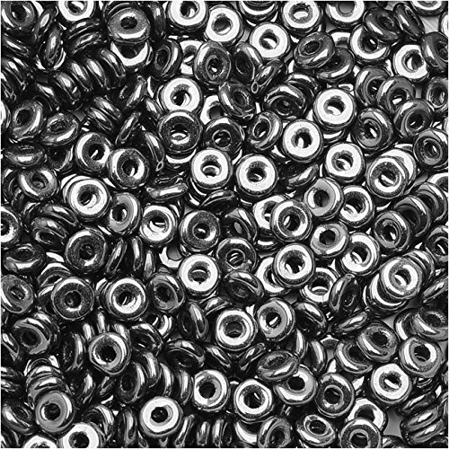 Tube Czech Glass Beads - Czech Glass Flattened O Beads, 3.8x1mm, 8 Gram Tube, Jet Chrome