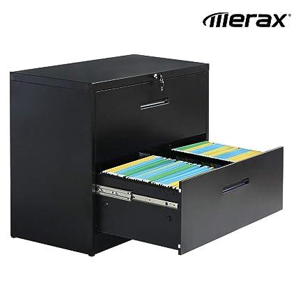 Merax - Archivador lateral con 2 cajones, organizador de 3 ...