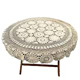 KEPSWET Floral Cotton 70 inch Round Beige Handmade Crochet Lace Tablecloth Handmade Table Overlay