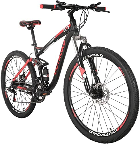 Outroad Mountain Bike 27.5 inch Wheels Front Suspension 21 Speed Road Bike Grass Sand Bicycle, Black Red