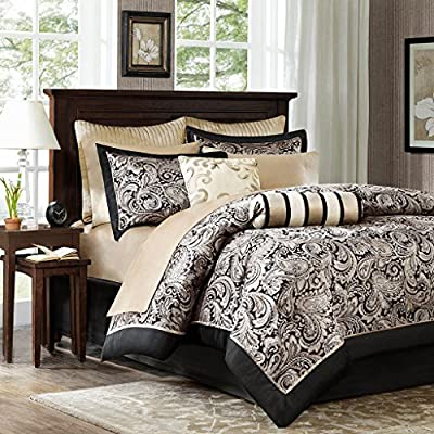 Madison Park Aubrey King Size Bed Comforter Set Bed In A Bag - Black, Champagne , Paisley Jacquard - 12 Pieces Bedding Sets - Ultra Soft Microfiber Bedroom Comforters - Set includes: 1 comforter, 2 King shams, 1 bed skirt, 1 decorative pillow, 1 decorative pillow, 2 euro shams, 1 flat sheet, 1 fitted sheet, 2 pillowcases Face: 100Percent polyester filling: 100Percent polyester Machine washable - comforter-sets, bedroom-sheets-comforters, bedroom - 61NW amDi%2BL. SS400  -