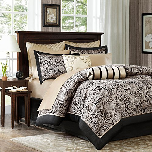 Madison Park Aubrey Queen Size Bed Comforter Set Bed In A Bag - Black, Champagne, Paisley Jacquard  12 Pieces Bedding Sets  Ultra Soft Microfiber Bedroom Comforters