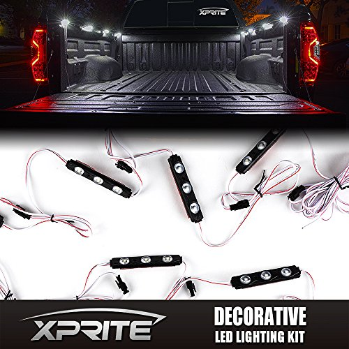 Xprite New Version White Rock Lights 8pc 24 LED Rock Light Truck Bed Rail Light Side Marker LED Lighting Kit w/ Switch - Truck Bed Lights