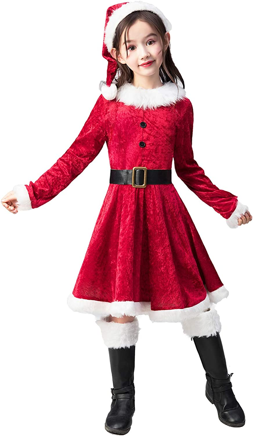Hat Outfits Party Pageant Costume for Girls Baby Christmas Santa Claus Dress