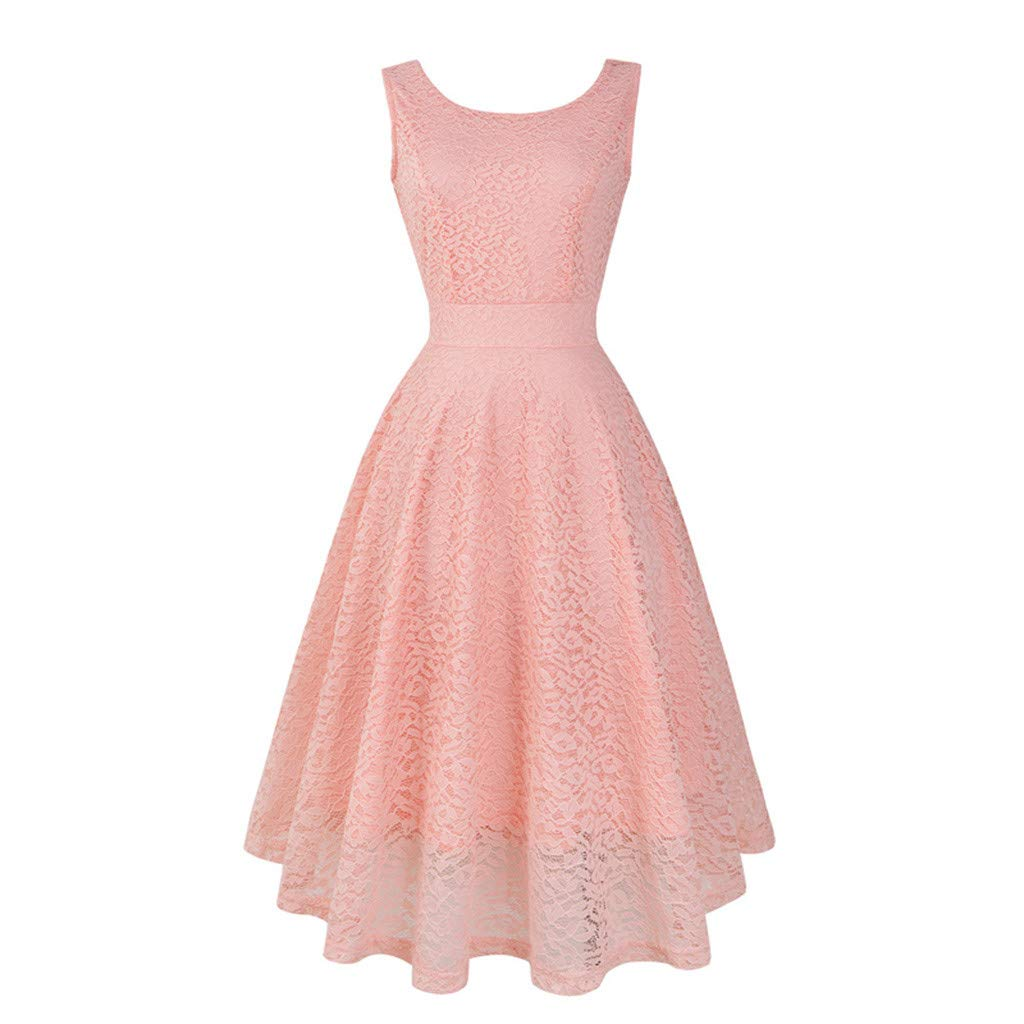 LQJstore Women's Vintage Lace Solid Sleeveless Spring Vintage Country Rock Cocktail Evening Party Dress (S, Pink)