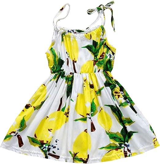 Summer Sunflower Dress Clothes Girl Print Sleeveless Baby Party Children Dresses