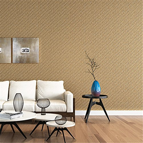 3d linen linen linen wallpaper, Living room bedroom background wall restaurant club pvc waterproof wallpaper-brown 100x53cm(39x21inch)