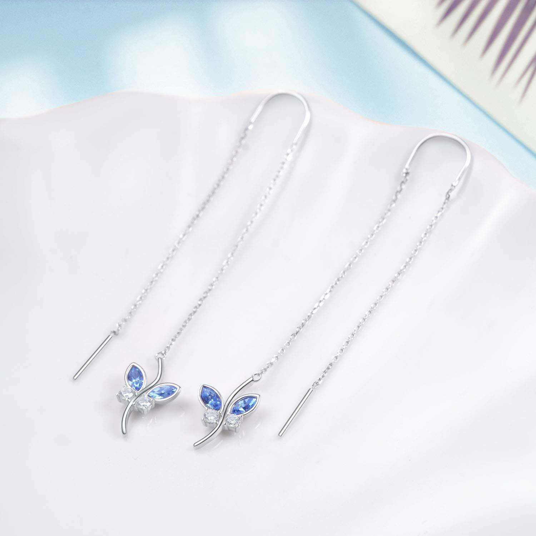 AOBOCO Sterling Silver Blue Butterfly Earrings Threader Earrings with Swarovski Crystal,Fine Jewelry Gift for Women Girls