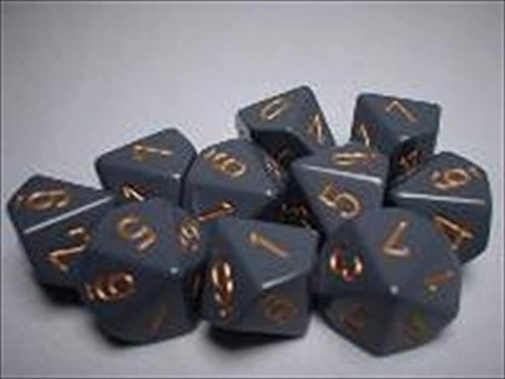 Chessex Dice Sets: Opaque Dark Grey with Copper - Ten Sided Die d10 Set (10)