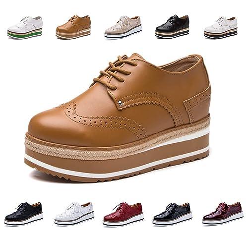 AARDIMI Damen Halbschuhe Brogues Schnürhalbschuhe Plateau Schuhe 4.5CM Sneaker mit Keilabsatz Schwarz Weiß Rot