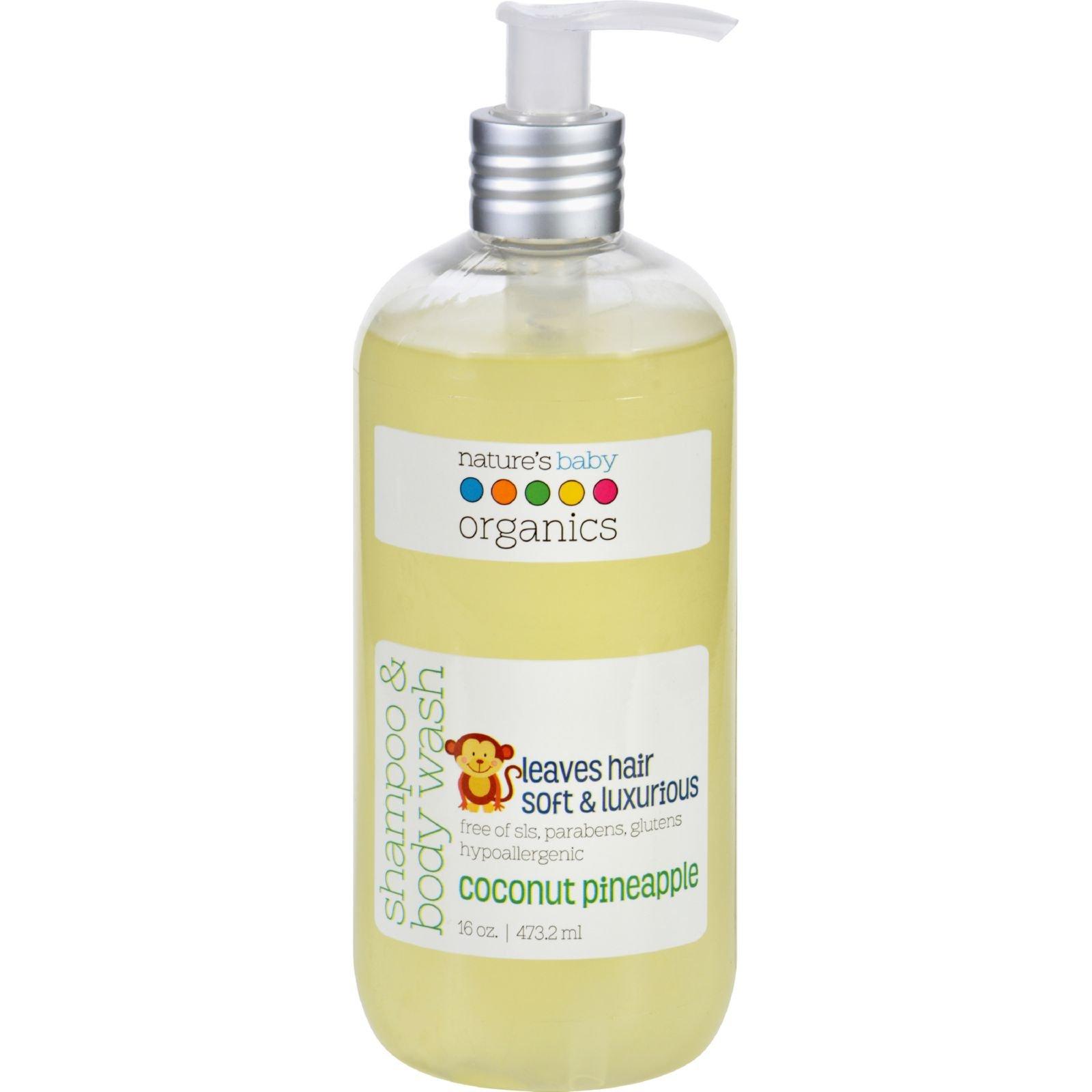 Natures Baby Organics Shampoo and Body Wash - Coconut Pienapple - 16 oz - Gluten Free - by Nature's Baby Organics