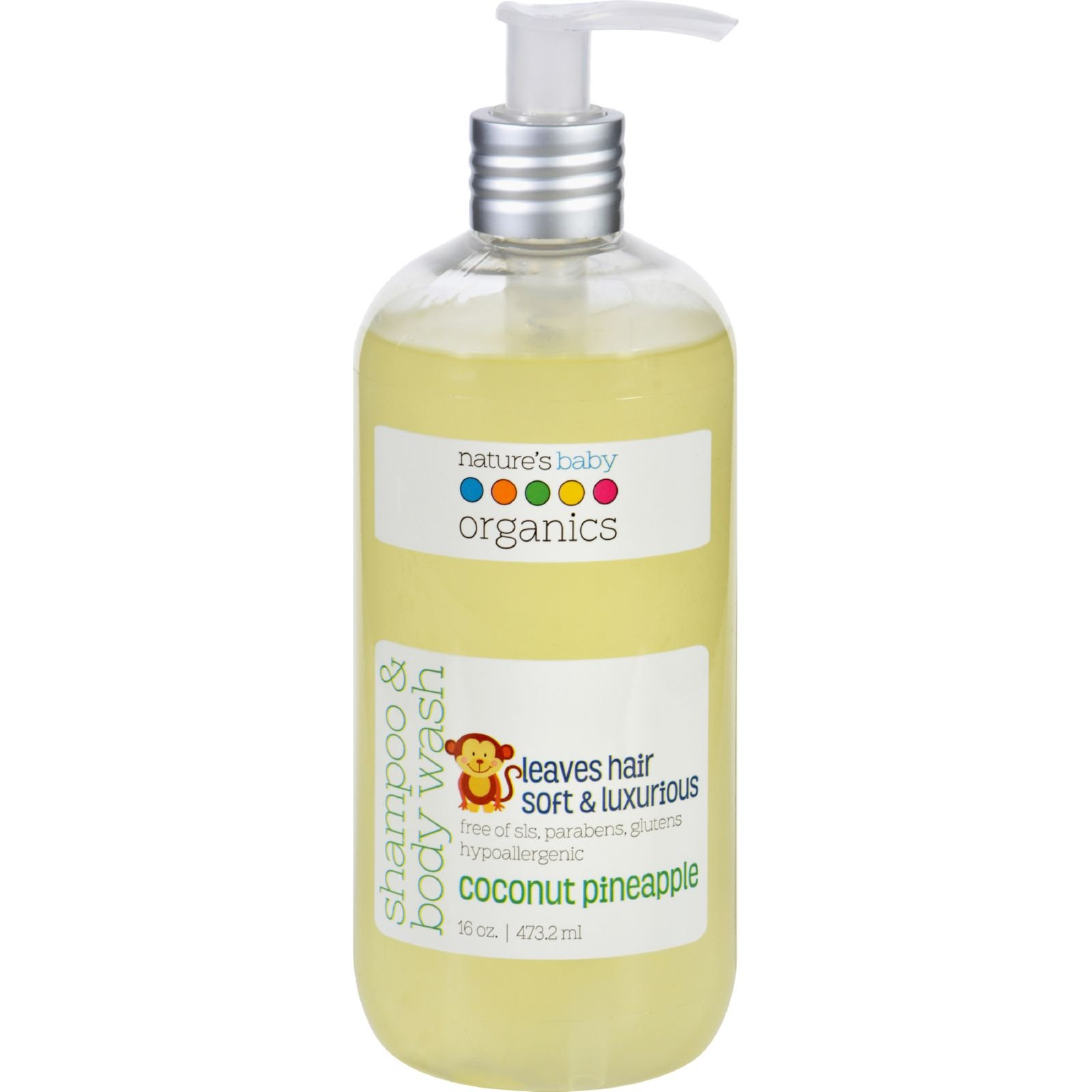 Natures Baby Organics Shampoo and Body Wash - Coconut Pienapple - 16 oz - Gluten Free -