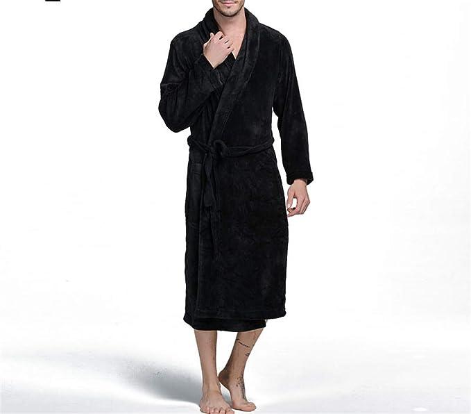 Franela Gruesa Bata de baño para Hombre Caballeros Ropa de Dormir Masculina Salones Pijamas Albornoces Invierno Otoño: Amazon.es: Ropa y accesorios