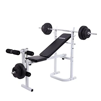flat fitness bench adjustable com incline goplus amazon exercise lifting dp strength benches weight