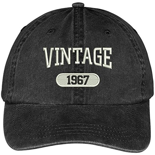 VINTAGE 1967 Embroidered 50th Birthday Soft Crown Washed Cotton Cap - Black (50th Birthday Hats)