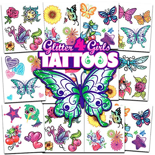 Crenstone Glitter Tattoos ~ 50 Dazzling Designs ~ Hearts, Butterflies, Flowers, and -