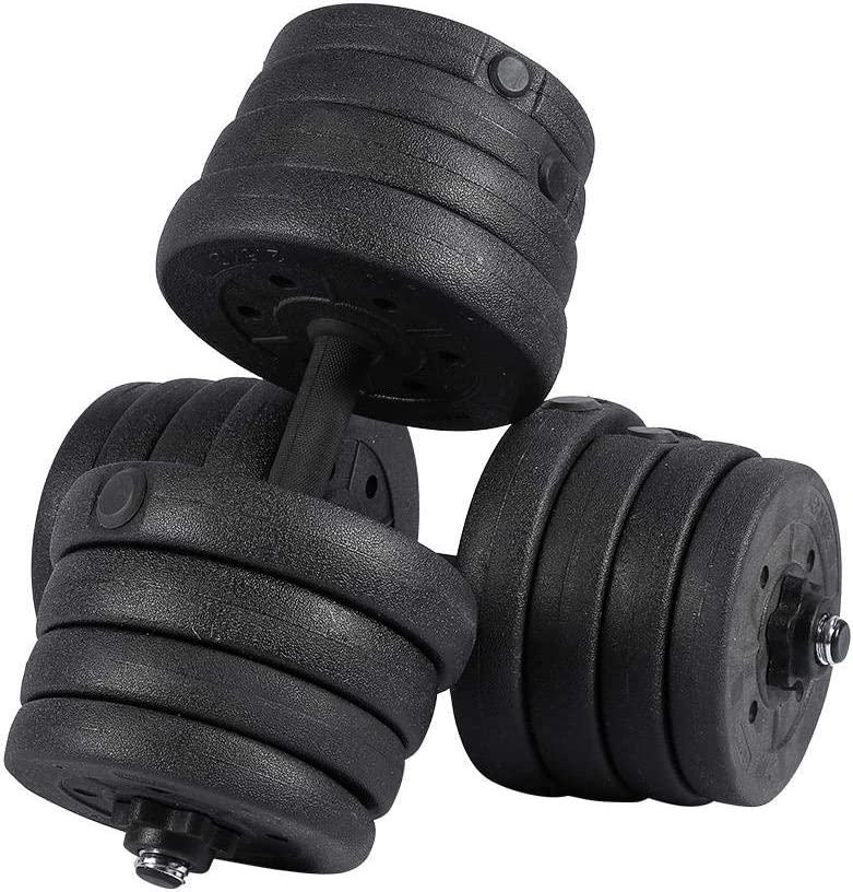 LeKu Dumbbells Set of 2, 66LB Adjustable Cap Weight Dumbbells 30kg Barbell Plates Kit for Home Gym Body Workout