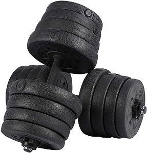 LeKu Dumbbells Set of 2, 66LB Adjustable Cap Weight Dumbbells 30kg Barbell Plates Kit for Home Gym Body Workout