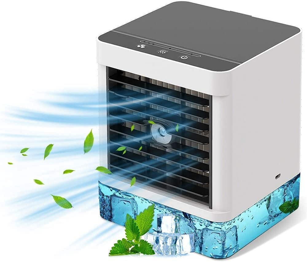 Personal Air Cooler, Air Cooler, Portable Mobile Air Conditioner, 3 in 1 Evaporative Coolers, Humidifier, Purifier with USB, 3 Speeds Desktop Cooling Fan for Office, Home, Dorm, Travel (black)