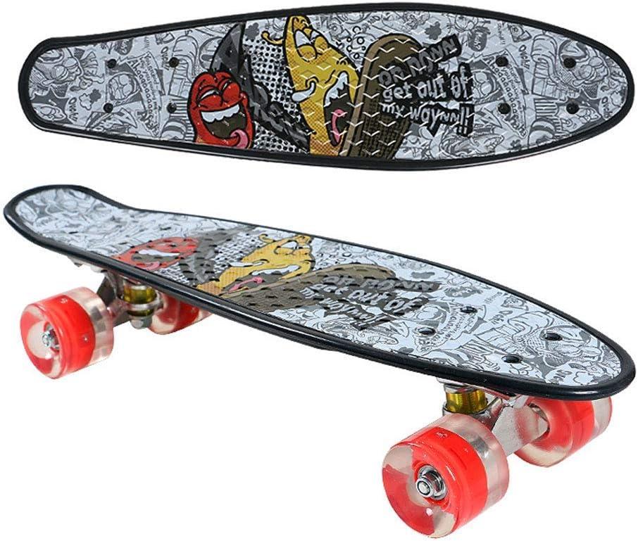 赤いドラゴン ミニクルーザーユニセックスストリートスケートボード、PUフラッシュホイール、高速サイレントベアリング、大人/子供初心者に適した魚プレート、ブラック