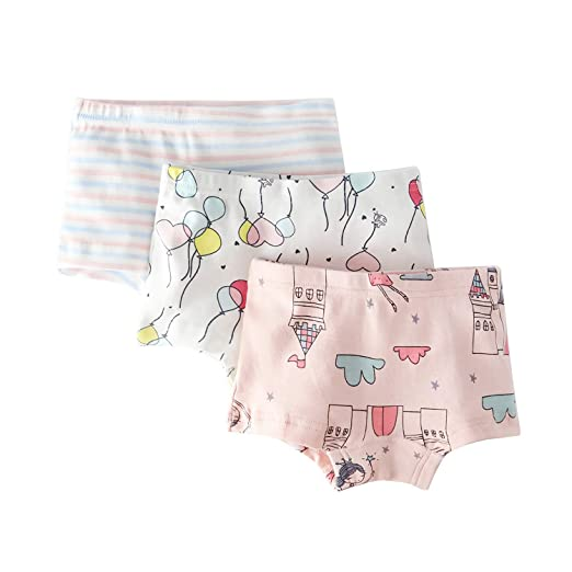 c14c9f3c565f Girls' Stripe Panties Castle Boyshort Assorted Underwear Pack of 3 for  Toddler Pink