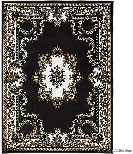 Allstar 8×10 Black Classic French Country Rectangular Accent Rug with Ivory and Mocha Bordered Medallion Persian Design 7 6 x 10 5